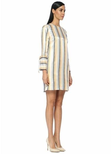 Victoria Victoria Beckham Uzun Kollu Çizgili Mini Elbise Renkli
